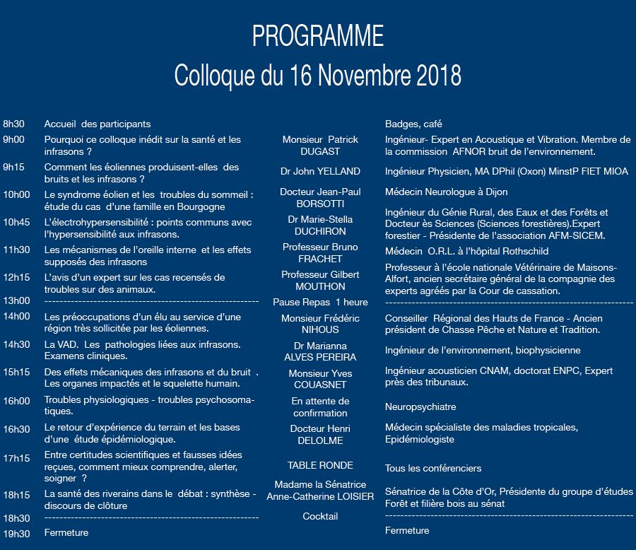 PROGRAMME Colloque du 16 novembre 2018
